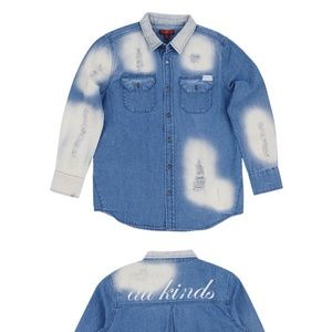 7 For All Mankind Girl's Distressed Denim Shirt